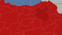 Erzurum - Turkey region extruded. Solids Animation