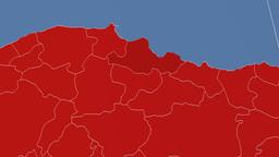 Samsun - Turkey region extruded. Solids Animation