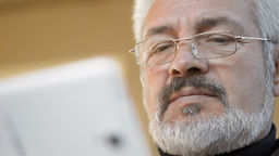 Mature Man With Tablet PC Outdoor Footage