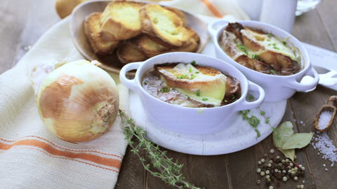 French Onion Soup stock footage