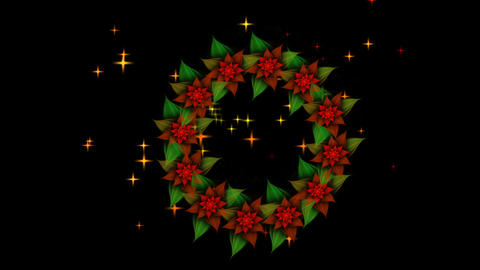 Starry Christmas wreath from red poinsettia with twinkling stars Animation