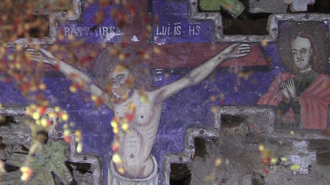 Cross painted with icons and cobwebs in her face 47 Footage