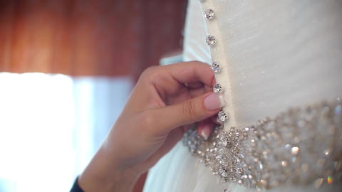 Woman checking her wedding dress 66 Footage