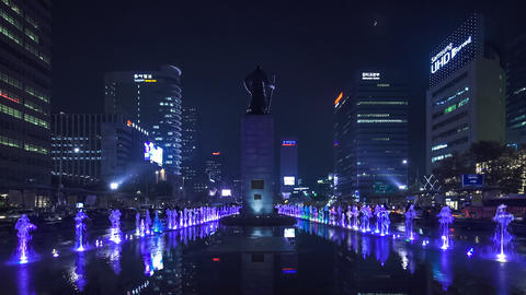 Gwanghwamun Plaza in Seoul, South Korea Footage