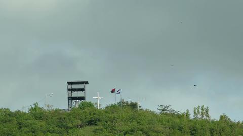 National flag of Nicaragua on mountain top Footage