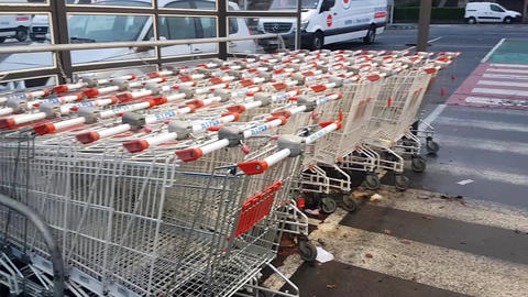 Shopping Carts On A Parking Lot Footage