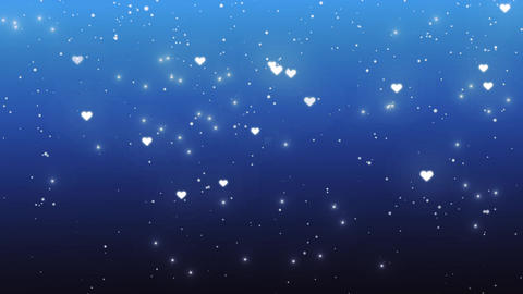Snowfall and hearts on a blue background Stock Video Footage