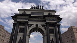 POV approach and look up to Moscow Triumphal Arch, pass through Footage