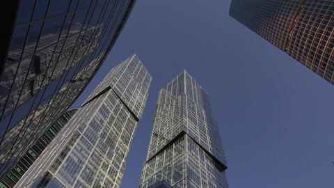 City of Capitals twins skyscrapers from low angle, International Business Center Footage