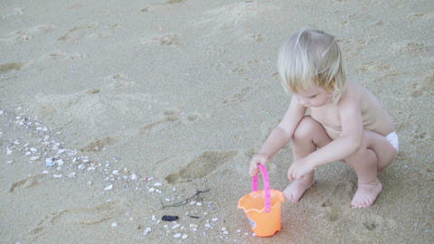 Girl collects shells on sandy beach Footage