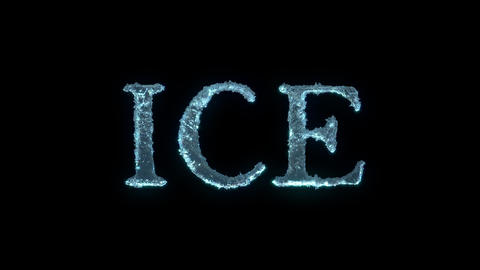 The Text Of Ice Isolated On Black With Alpha Matte Animation