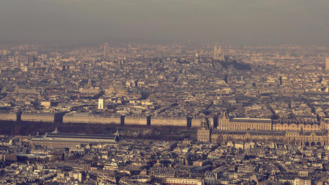 Paris, France - Timelapse - Aerial view of the Louvre museum Footage