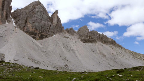 Clouds over Tre Cime di Lavaredo. Time Lapse Footage