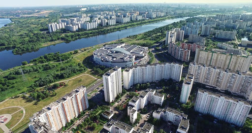 Aerial River, Architecture, Streets Roads and apartments in Moscow GIF