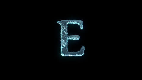 The Letter E Of Ice Isolated On Black With Alpha Matte Animation