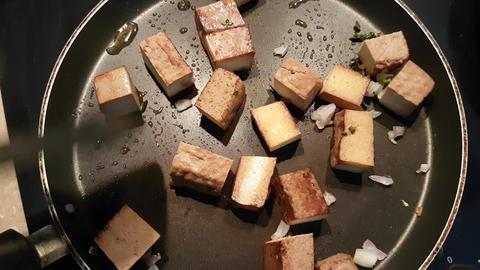 Frying Hot Tofu Footage