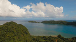 Aerial view tropical lagoon,sea, beach. Tropical island. Catanduanes, Philippine 影片素材