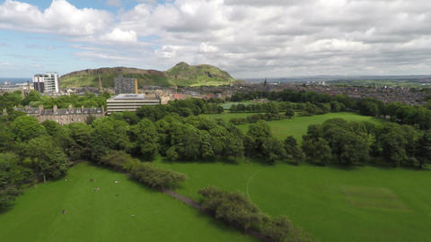 Edinburgh - Meadows - Aerial Clip Live Action