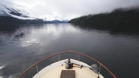 Bow of ship as it cruises Inlet Footage