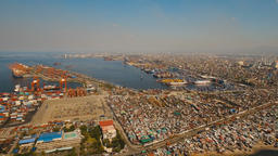 Cargo industrial port aerial view. Manila, Philippines Footage