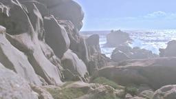 Glistening Granite Rocks Hazy Sunset Capo Testa Sardinia Italy Footage