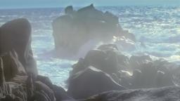 Granite Rocks Wild Sea Hazy Sunset Capo Testa Sardinia Italy Footage