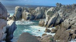 Mistral Formed Granite Rock Coast Bay Capo Testa Sardinia Italy Footage
