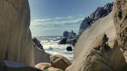 Waves between Granite Rocks Capo Testa Sardinia Italy Footage