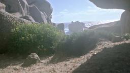 Windy Capo Testa Granite Rock Coast Sardinia Italy Footage