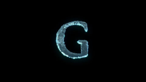 The Letter G Of Ice Isolated On Black With Alpha Matte Animation