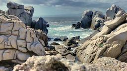 Mistral Formed Granite Rock Sea Coast Capo Testa Sardinia Italy Footage