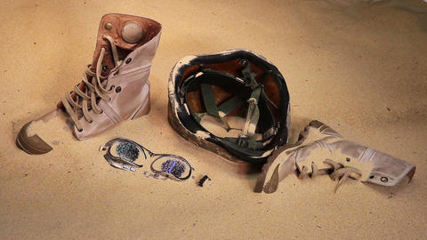 Soldier hat boots and sand glass- Filmmaterial