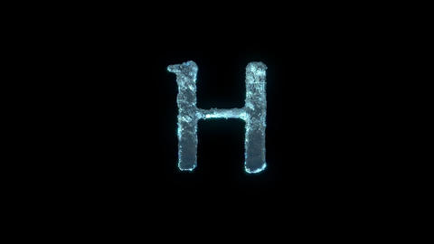 The Letter H Of Ice Isolated On Black With Alpha Matte Animation