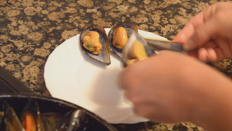 Mussels Served On A Plate In Round Shape Footage
