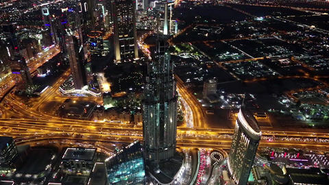 Dubai downtown at night, United Arab Emirates Footage