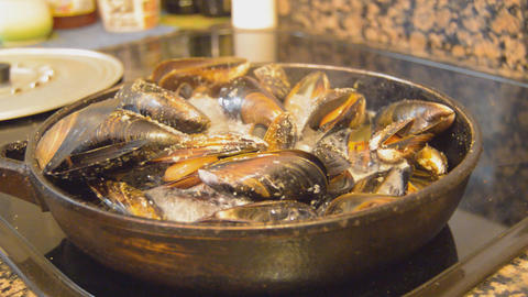 Mussels On A Big Pan Footage