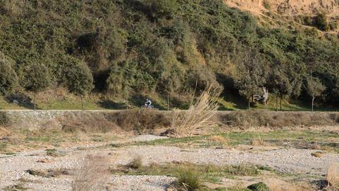 Mountain Biker On Track Footage