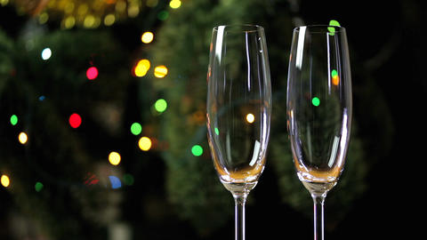 Two Empty Glasses For Champagne Footage