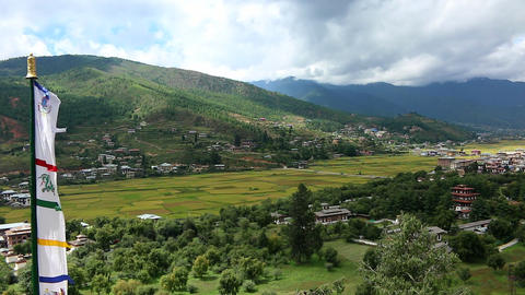 Bhutan landscape of Thimphu area panorama view with mountains and the town Live Action