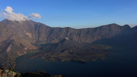 Indonesia Mount Rinjani volcano crater panorama view Live Action