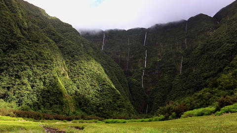 La Reunion le Grand Etang valley with waterfalls and mountains Footage