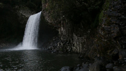 La Reunion waterfall Bassin la Paix at dawn with swimming pool Footage