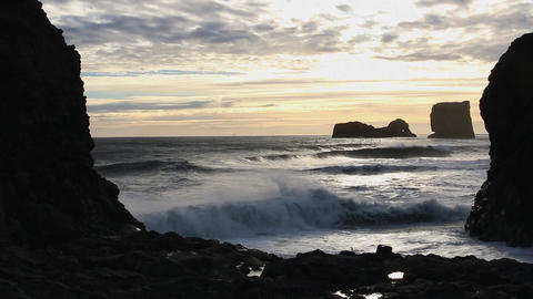 Iceland Vik area, waves on the shore at sunset Live Action