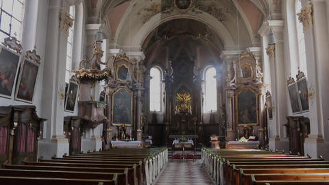 German church catholic empty rows with wedding decoration Live Action