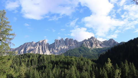 Italian dolomites Rosengarten Latemar mountain panorama landscape clear sky Live Action