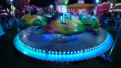 Spinning ride at an amusement park Footage