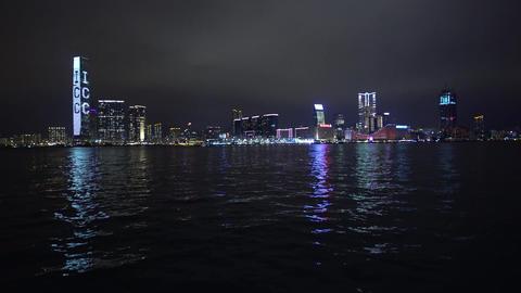 Night view of Tsim Sha Tsui in Kowloon, Hong Kong Footage