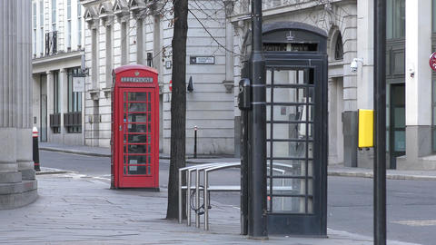 Black and red telephone box Footage