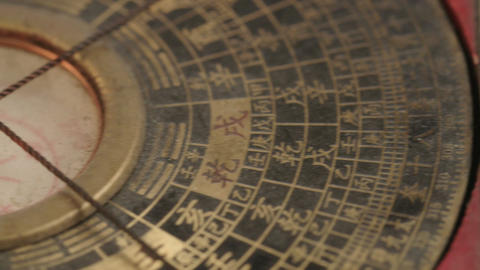 Macro shot of antique navigation instrument on dark background GIF