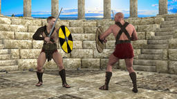 gladiators, trained svordpley swords play,loop, animation